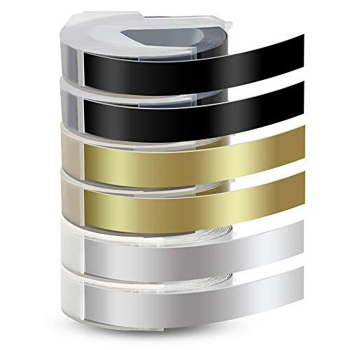 Pristar Compatible 3D Cinta 9mm para Dymo 3D Plástico Cintas Etiquetas Autoadhesivo Blanco sobre Negro/Oro/Plata para Dymo Motex Junior Omega 1540 / Maxi 1755 S0717910