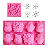 Konsait 2 Pack Snowflake Silicone Moulds, Snowman Angle Penguin Candy Chocolate Jelly Lollipop Silicone Molds, Large Size Cake Moulds Cookies Baking Tools for Xmas Decorations Party Supplies