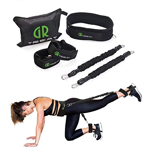 ZEH Widerstand-Bänder Set, Resistance Tubes mit Anti-Snap-Heavy Duty Schutz Nylon Sleeves-Muskel-Training mit justierbare Taille FACAI (Color : Black)