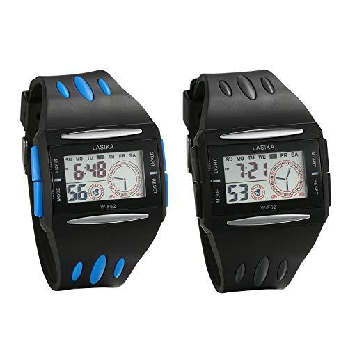 JewelryWe 2pcs heren digitaal horloge 30 m waterdicht sporthorloge rechthoekige horloges met stopwatch, wekker, alarm, datumkalender en LED-verlichting (zwart blauw)