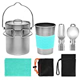 Odoland Multi-PCS Mini Kit de Casseroles Camping, Cookware Kit en Alliage d'Alu, Légère, Durable et Compact...
