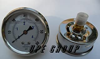 NEW STAINLESS STEEL LIQUID FILLED PRESSURE GAUGE WOG WATER OIL GAS 0 to 60 PSI CENTER BACK MOUNT 0-60 1/4