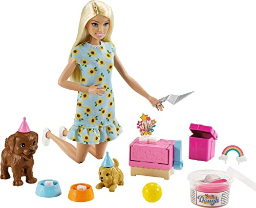 Barbie Doll (11.5-inch Blonde) and Puppy Party Playset with 2 Pet Puppies, Dough, Cake Mold and Accessories, Gift for 3 to 7 Year Olds