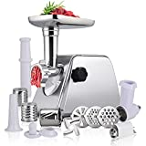 Meat Grinder Electric, Anbull Sausage Stuffer Maker, Heavy Duty 1000W Food Grinder, Tomato Juicer, Slicer, Meat Mincer Machine with Attachments | Sausage Tube | Kubbe Kit | Blades | 3 Plates
