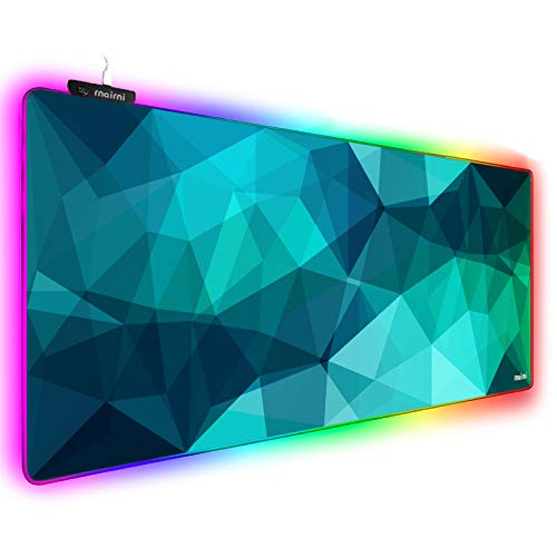 Extended RGB Gaming Mouse Pad, Extra Large Gaming Mouse Mat for Gamer, Waterproof Office DEST Mat with 10 Lighting Mode, for PC Computer RGB Keyboard Mouse - 31.5'' x 11.8' x 4mm (Lattice01)