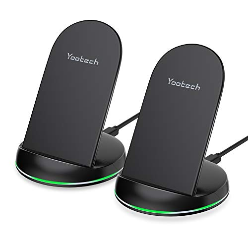 yootech Wireless Charger Stand,2-Pack 10W Max Qi Wireless Ladestation für iPhone 11/11 Pro/11 Pro Max/XS MAX/XR/XS/X/8/8 Plus,Ladegerät Induktiv für Galaxy S20/Note 10/S10/S9/S8(Mit 4 USB C Kabels)