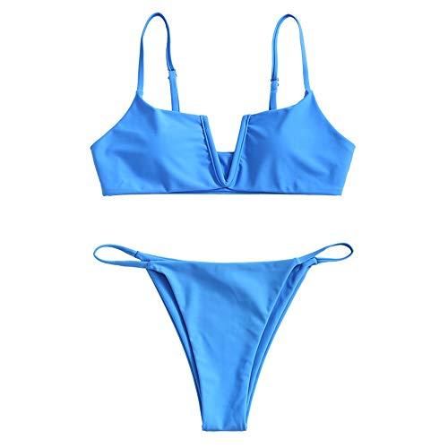 ZAFUL Damen Bikini Set Zweiteilige Badeanzug V-förmiger High Cut Bralette Sexy Swimsuit Sommer (Blau-A, S)