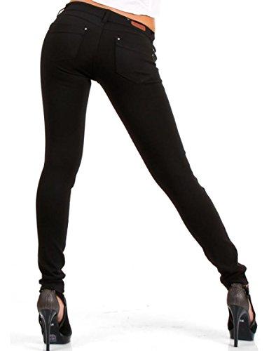 CHICK REBELLE 24brands - Damen Skinny Hose Treggings Röhrenhose Slim - 965, Größe:34;Farbe:Schwarz