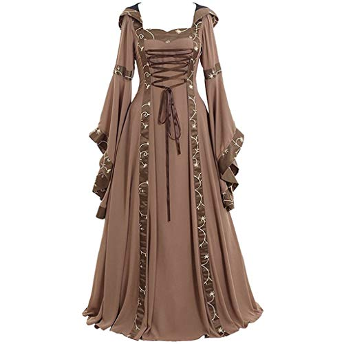 M•kvfa✿Women's Vintage Celtic Medieval Floor Length Renaissance Prom Gothic Cosplay Elegent Dress (XL, Khaki)