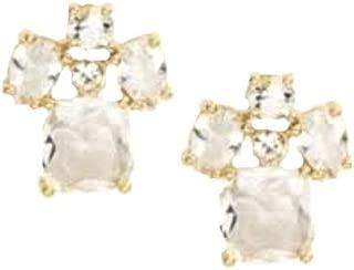 Make Me Blush Crystal Bow Post Back Earrings Goldtone