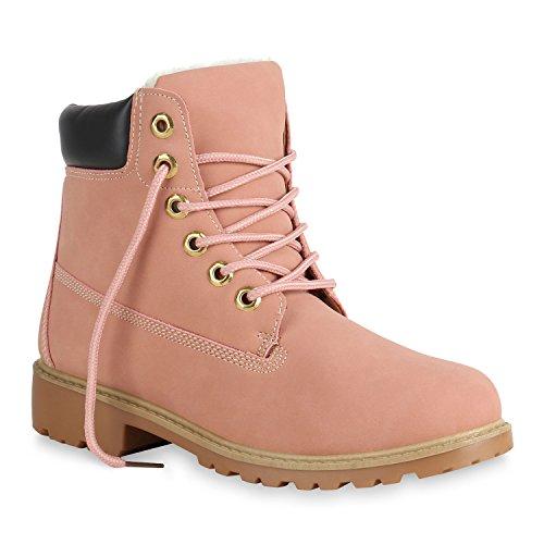 Damen Stiefeletten Outdoor Worker Boots Warm Gefütterte Schuhe 152075 Rosa 38 Flandell