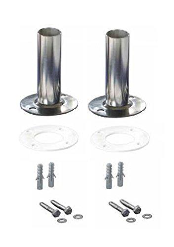 YMBERSA Duo-Pack Anclaje Pletina para escaleras de Piscinas. D.40mm. Incluye Juntas de Goma, Tacos y Tornillos de sujección a Suelo