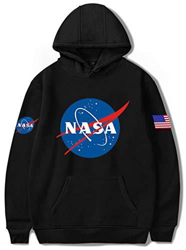 HAOSHENG Unisexo NASA Aeronautico Multicolor Sudadera con Capucha Manga Larga Deportiva Hoodie(2XL)