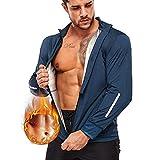 Junlan Sauna Suit for Men Sweat Sauna Jacket Gym Workout Tops Sweat Vest Zipper Sauna Suits for Mens (Blue Jacket, Large)