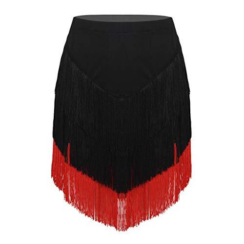 Freebily Damen Latein Rock mit Quasten Tango Rumba Dancewear Ballroom Fransen Tanzrock mit Shorts Innen Schwarz&Rot X-Large