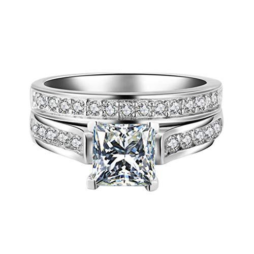 YunYoud 2-in-1 Mode Dame Zirkonia Ring Kreative Set Zubehör Verlobungsring stahlringe fingerringe ehering billige eheringe rose holzringe doppelring trauring