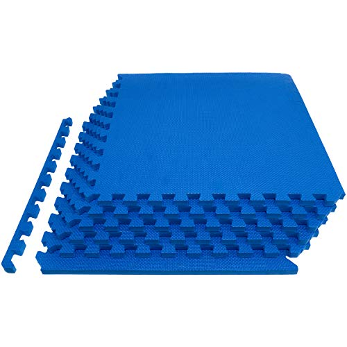 ProsourceFit Extra Thick Puzzle Exercise Mat , EVA Foam Interlocking Tiles for Protective, Cushioned Workout Flooring for Home and Gym Equipment,Blue