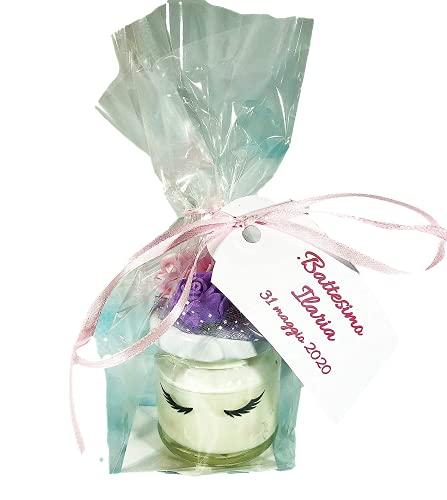 Battesimo o nascita femmina 10 mini candele unicorno in cera di soia e oli essenziali segnaposto bomboniera ricordo invitati baby shower