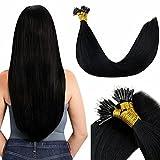 LaaVoo Nano Bead Hair Extensions Human Hair Jet Black #1 20inch Pre Bonded Hair Extensions Nano Ring Hair Extensions 50strands 50gram Silky Straight Nano Extensions Human Hair