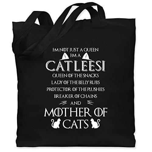 Shirtracer Katzen - I\'m a Catleesi - Unisize - Schwarz - jutebeutel katze - WM101 - Stoffbeutel aus Baumwolle Jutebeutel lange Henkel
