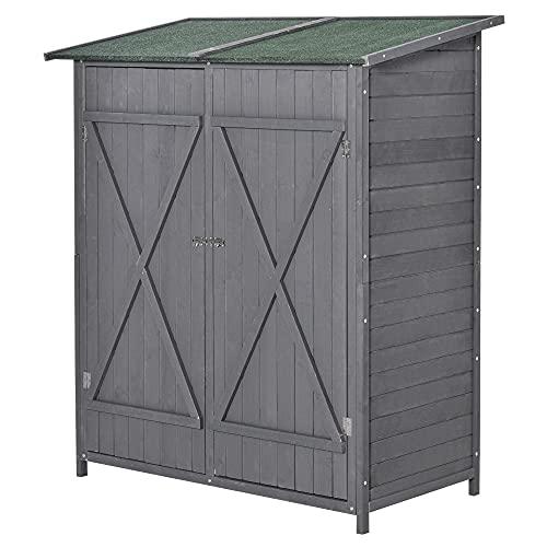 Outsunny Geräteschuppen mit 2 Tür Geräteschrank mit Asphaltdach Gartenlagerschrank Antidumping Design mit Bodennägel Tannenholz Grün+Grau 139 x 75 x 160 cm