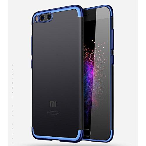 BLUGUL Funda Xiaomi Mi Note 3, Electroplating Coloring, Ultra Fina, Transparente Suave TPU Silicona Cover Claro Case para Xiaomi Note 3 Azul