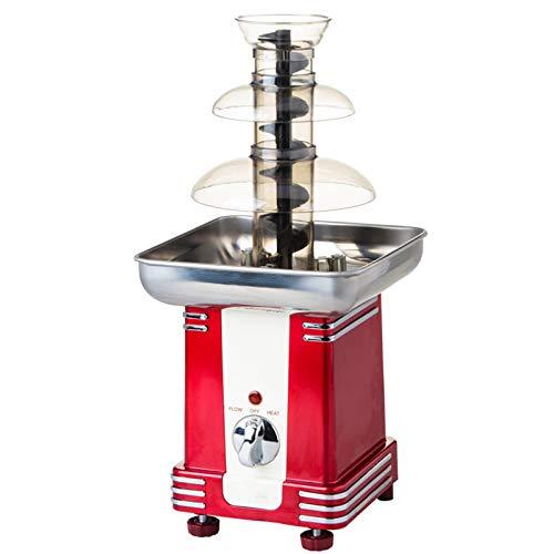 BLLXMX Schokoladenbrunnen, Tischplatte Machine Party Food 3 Tier Cascading Red, elektrischer Schokoladenbrunnen Fondue Melting Party Machine Warmer Dipping