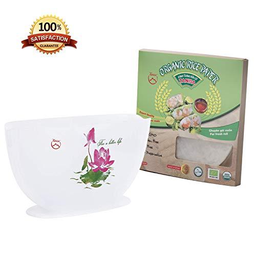Tanisa Sommerrolle Frühlingsrolle Set mit Reispapierverpackungen, Reispapier, Wasserschale Organic rice paper + Bowl 23cm
