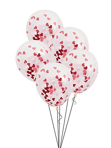 Unique Party - Globos de Confeti de San Valentín - 40 cm - Confeti en forma de Corazón Rosa y Rojo - Paquete de 5 (57081)