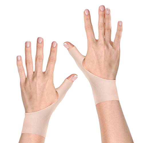 Wrist and Thumb Stabilizer Support Brace | 2 Premium Gel Fingerless Compression Gloves for Right and Left hand (XS to M, Nude)