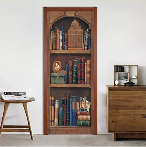 SUDIKE Self-Adhesive Door Sticker European Style Retro 3D Bookshelf Oil Painting Wallpaper Living Room Study Room Home Decor 3D Sticker