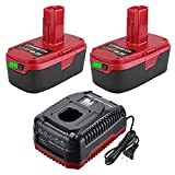 【Upgraded to 5.0Ah】2Pack C3 Lithium Replacement Battery for Craftsman 19.2 Volt Battery+9.6V-19.2V Lithium & NI-CD Battery Charger for Craftsman C3 130279005 130211004 315.115410 315.11485