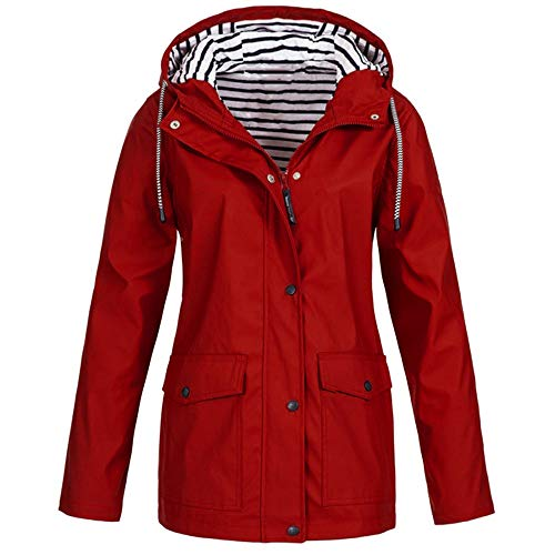 vkjany Womens Rain Coat Lightweight Hooded Long Raincoat Outdoor Breathable Rain Jackets Red