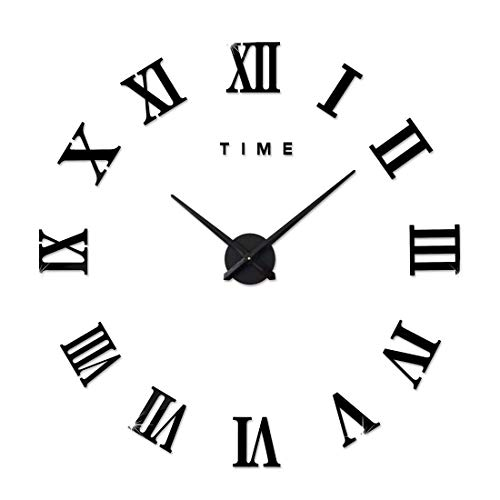 BBZZ Reloj de pared moderno con números romanos silenciosos en 3D, para sala de estar, oficina, color plateado (batería no incluida)