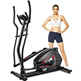FUNMILY Elliptical Machine for Home Use, Cardio Cross Trainer with 10 Levels Magnetic Resistance, LCD Monitor, Heart Rate Sensor and APP Function, 390LB Weight Limit