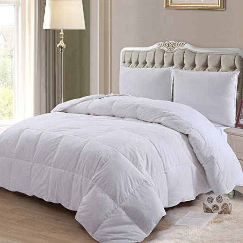 ELNIDO QUEEN Down Comforter with Goose Duck Down and Feather Filling - 100% Cotton Cover - Warmth All Season Duvet Insert - Machine Washable Stand Alone Bed Comforter with Tabs Oversized Queen 98×98