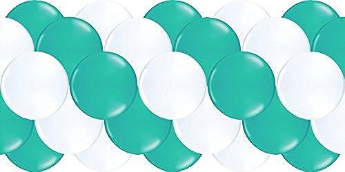 partydiscount24 Luftballongirlande Türkis & Weiß 100 Meter