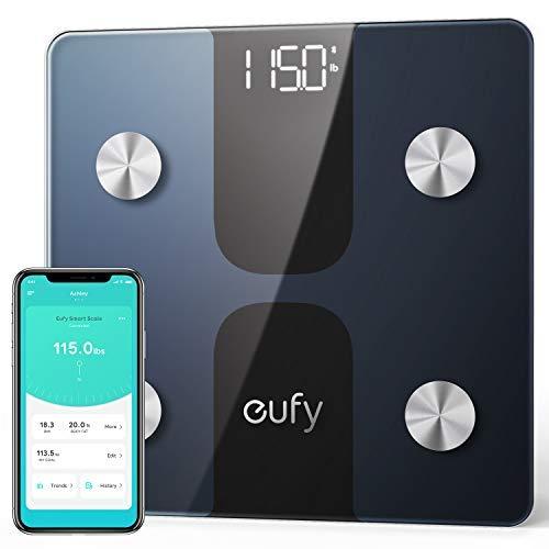 eufy C1 Bilancia Smart con Bluetooth, Grande Display LED, 12 Misurazioni, Analisi delle Composizione del Corpo con Peso/Grasso Corporeo/BMI/Fitness Body, Auto On/off, Superficie in Vetro Temperato