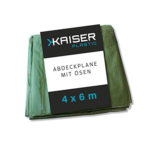 KAISER plastic® Gewebeplane | Xtra Strong | 4 x 6 m | Schutzplane | Abdeckplane | grün und reißfest