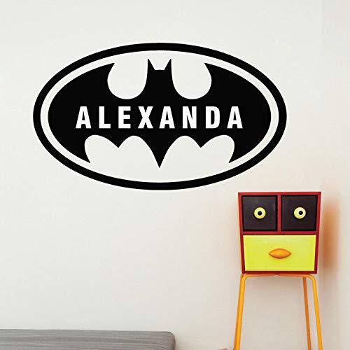 Batman Logo Thème Autocollant Mural Garçon Chambre D'enfant Chambre Chambre D'activité Salle Vinyle Maison Personnalisé Décoration de Bande Dessinée Autocollant Mural A4 57x33 cm