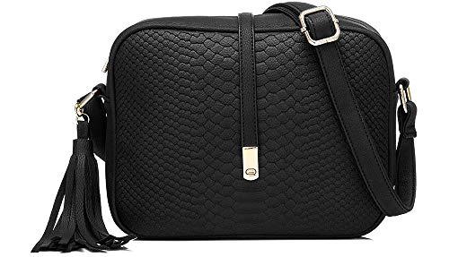 Chic Boutique De Mode Borsa A Tracolla Crossbody Tote Messenger Bag Per le Donne Borsa Unica Grande (Nero)