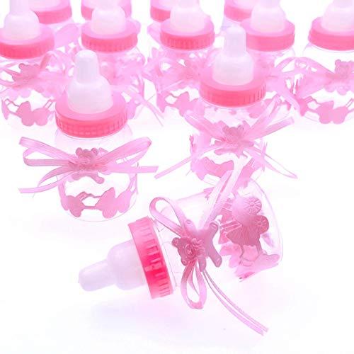 JZK 24 x Rosa biberon bottiglia bottiglina bottigliette portaconfetti bomboniere porta confetti per battesimo nascita comunione compleanno bambina bimba ragazza