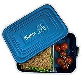 Werbetreff Gera Brotdose mit Name und Motiv, Aluminium Lunchbox blau mit Gravur Geschenk-Idee für Kinder, Schule, Kindergarten, Metall, Vesperdose Erwachsene