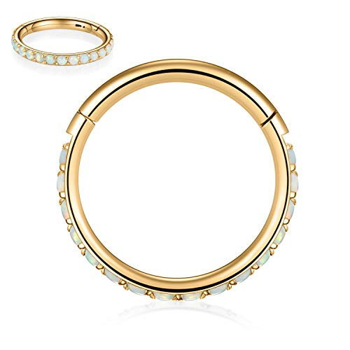 Kzslive 16G Opal Gold Nose Rings Surgical Steel Septum Clicker Segment Cartilage Unisex Earrings Hoop Daith Piercing Jewelry