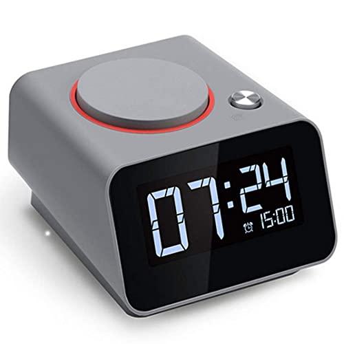 Reloj Despertador Electrónico Inteligente De Pantalla Grande LCD, Función De Carga USB Dual Ajuste De Brillo Snooze Reloj Despertador Digital Reloj De Mesa Reloj Led Portátil, Verde