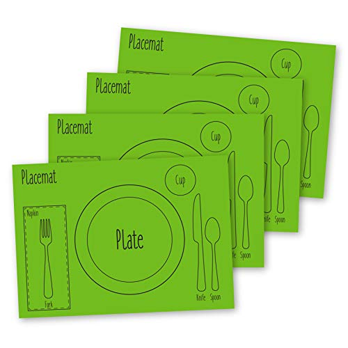 AllSpice Kids Table Setting Placemats 4-Pack Montessori Style, Silicone (Green)