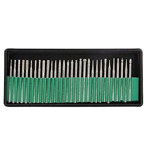 Easyeeasy Juego de agujas de pulir con cabezal de pulido de diamante, brocas de grabado, herramientas duraderas portátiles prácticas, 30 piezas