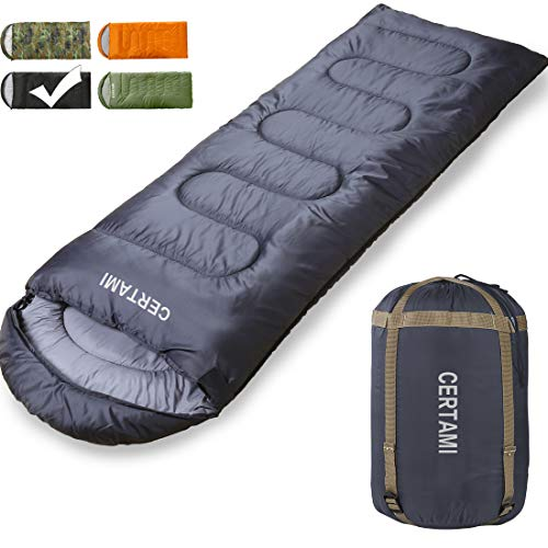 CER TAMI Sleeping Bag for Adults, Girls & Boys, Lightweight Waterproof Compact, Great for 4 Season Warm & Cold Weather, Perfect for Outdoor Backpacking, Camping, Hiking. (Dark Grey/Left Zip)