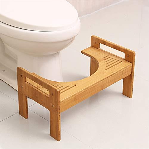 Jeteven Toilettenhocker Badezimmer Squatty Potty Erwachsene Kind, aus Bambus, gesunde Sitzhaltung auf Toilette- gegen Hämorrhoiden Verstopfung Reizdarm Blähungen Blähbauch, für eine gesunde Darmflora