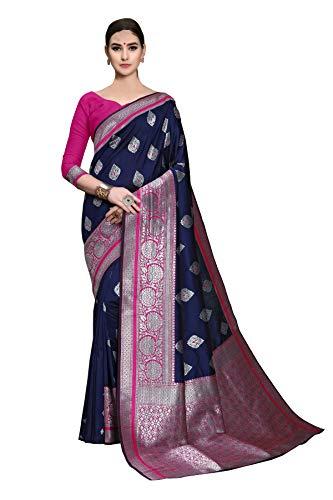 Soru Fashion Women's Stylish Blue Kanjivaram Art Silk Sare